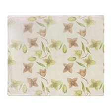 Lime and Peach Floral Throw Blanket