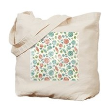 Blue and Red Floral Tote Bag