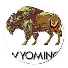 Wyoming state crest e8 Round Car Magnet