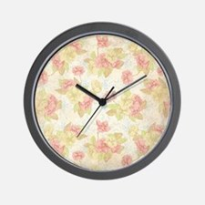 Pretty Pink Flowers Wall Clock