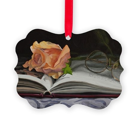 Rose and Book 130130 Picture Ornament