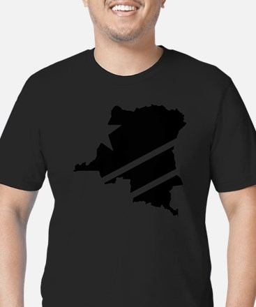 DR Congo Flag Knockout Men's Fitted T-Shirt (dark)