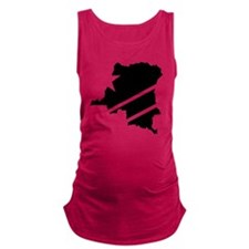 DR Congo Flag Knockout Maternity Tank Top
