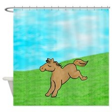 LilBrown-allover-front Shower Curtain
