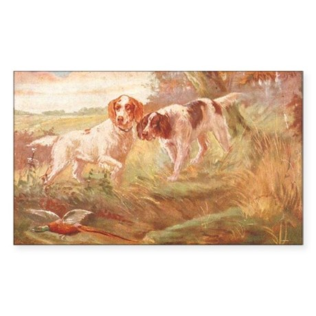 pheasant hunting with bird dog Sticker (Rectangle)