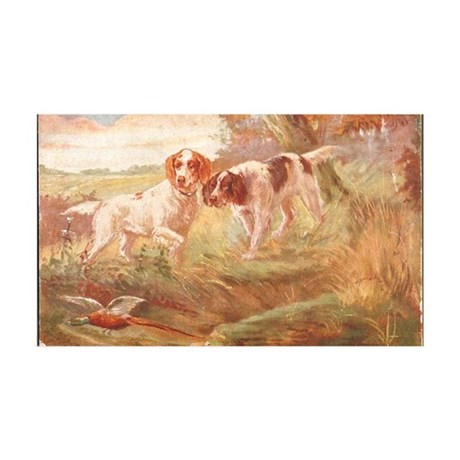 pheasant hunting with bird dogs 35x21 Wall Decal