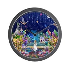 Secret Garden Fractal Collage Wall Clock