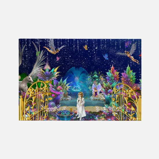 Secret Garden Fractal Collage Rectangle Magnet