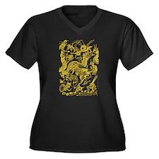 Golden Multidragon Women's Plus Size V-Neck Dark T