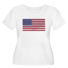 USA Flag with Thomas Paine Text T-Shirt