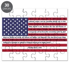 USA Flag with Thomas Paine Text Puzzle