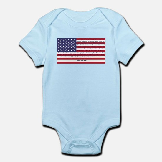 USA Flag with Thomas Paine Text Infant Bodysuit