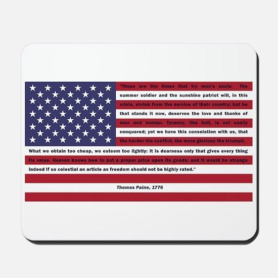 USA Flag with Thomas Paine Text Mousepad