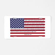 USA Flag with Thomas Paine Text Aluminum License P