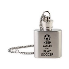 Keep Calm Play Soccer Flask Necklace