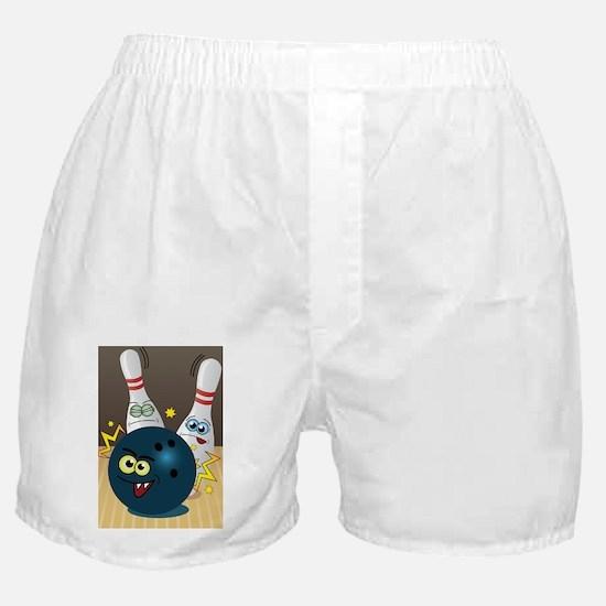 Hilarious Bowling Ball and Pins Boxer Shorts