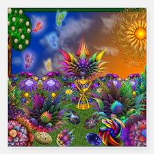 "Apo Rainbow Garden Square Car Magnet 3"" x 3"""