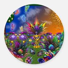 Apo Rainbow Garden Round Car Magnet