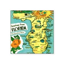 "Vintage Florida Sun Map Square Sticker 3"" x 3"""