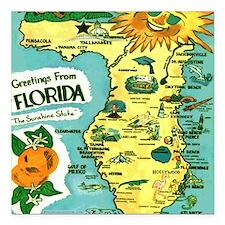 "Vintage Florida Sun Map Square Car Magnet 3"" x 3"""