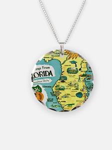 Vintage Florida Sun Map Necklace