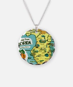 Vintage Florida Sun Map Necklace Circle Charm