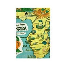 Vintage Florida Sun Map Rectangle Magnet