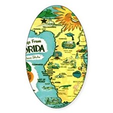 Vintage Florida Sun Map Decal