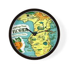Vintage Florida Sun Map Wall Clock