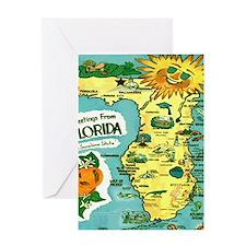 Vintage Florida Sun Map Greeting Card