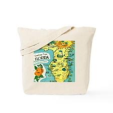 Vintage Florida Sun Map Tote Bag