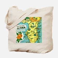 Vintage Florida Sun Map Tote Bag