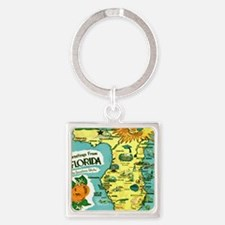 Vintage Florida Sun Map Square Keychain