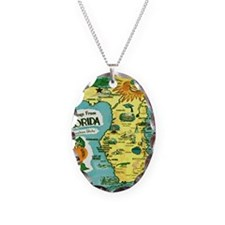 Vintage Florida Sun Map Necklace Oval Charm