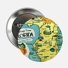 """Vintage Florida Sun Map 2.25"""" Button"""