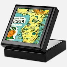 Vintage Florida Sun Map Keepsake Box