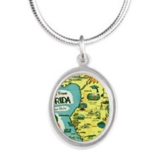 Vintage Florida Sun Map Silver Oval Necklace