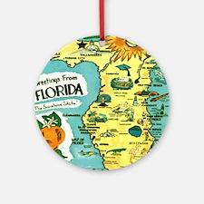 Vintage Florida Sun Map Round Ornament
