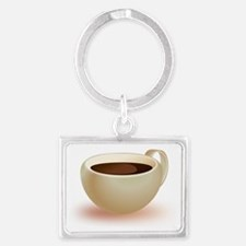 Coffee in Cup Landscape Keychain