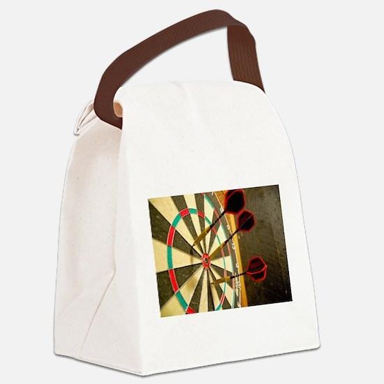 Darts in a Dartboard Canvas Lunch Bag