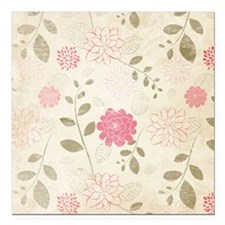 "Pink Flowers Square Car Magnet 3"" x 3"""
