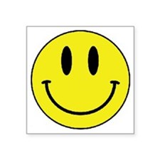 "Yellow Smiling Face Square Sticker 3"" x 3"""