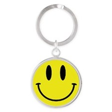 Yellow Smiling Face Round Keychain