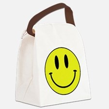 Yellow Smiling Face Canvas Lunch Bag