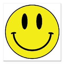"Yellow Smiling Face Square Car Magnet 3"" x 3"""