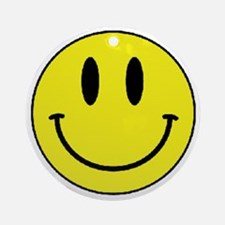 Yellow Smiling Face Round Ornament
