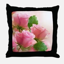 Pink Roses Throw Pillow