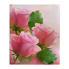 Pink Roses Throw Blanket