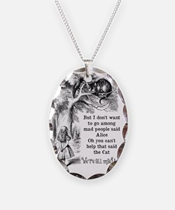 Alice in Wonderland Cat Necklace Oval Charm