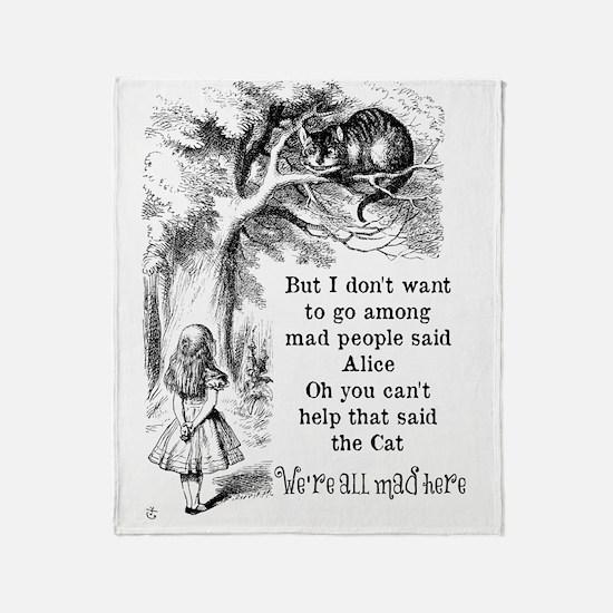 Alice in Wonderland Cat Throw Blanket